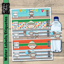 Changuito Etiquetas Para Bote De Agua,sock Monkey Labels