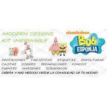 Kit Imprimible Bob Esponja Adornos Invitaciones Recuerdos Y+