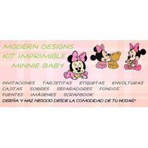 Kit Imprimible Minnie Baby Adornos Invitaciones Recuerdos Y+