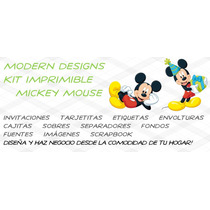 Kit Imprimible Mickey Mouse Adornos Invitaciones Y+