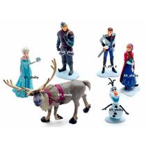 Fiesta De Frozen, Set De 6 Figuras Para Pastel, Original