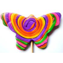 Paleta De Caramelo Macizo En Forma De Mariposa