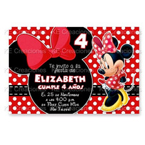 Invitaciones Minnie Mouse Mimi Disney Kit Imprimible Fiesta