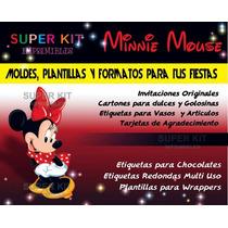 Kit Imprimible Minnie Mouse Diseñá Tarjetas Cumples Y Mas #2