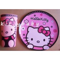 Fiesta De Hello Kitty, Plato De Melamina Y Vaso Lenticular