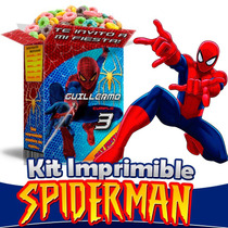 Spiderman Kit Imprimible Hombre Araña Candy Bar 2016