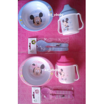 Minnie Mouse , Set De Plato Con Vaso Entrenador Y Cubiertos