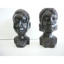 Vintage 2 Bustos Africano De Ebano-mujer-hombre