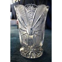 Hermoso Florero De Cristal Cortado Antiguo