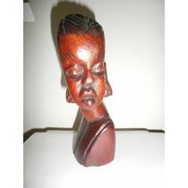 Escultura De Busto Africano De Madera