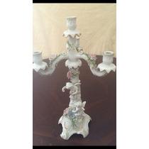 Candelabro De Porcelana De Antigua Porcelana De Cuernavaca