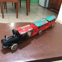 Antiguo Juguete Lamina Hojalata Tren Grande Coleccion Carrit