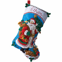 Bucilla Original. Bota Navideña Traditional Santa. Navidad