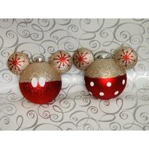 Esferas Doradas Y Rojo Mickey Mouse Y Minnie Navideña Mimi