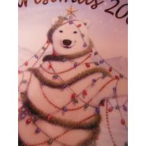 Plato Oso Polar Pinguinos Decorado De Oro Christmas Navidad