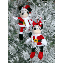 Navidad Mickey Mouse Y Mimi Santa Peluche 2 Adornos Colgante