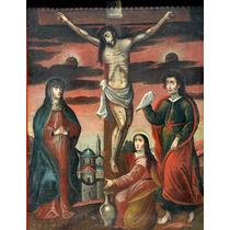 Crucifixion De Cristo Oleo Antiguo Sxix Escuela Popular
