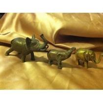 Set De 3 Elefantitos De Bronce