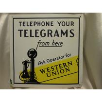 Antiguo Cartel De Telefonia Y Telegramas