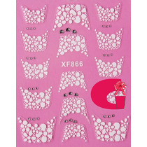 Sticker Uñas Frances 3d Set 4sobre Xf866,xf817,xf818,xf870
