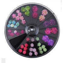 Uñas Carrete Piedra Cristal Decoracion Flores Acrilico Disco