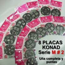 8 Placas Konad Diseños Xl Serie M#2 + Regalos Sellos Discos