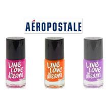 3 Aeropostale Pinturas Unas Fosforescente Rosa Naranja Lila!