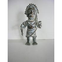 Antigua Escultura Guerrero Africano De Benin - Bronce Solido