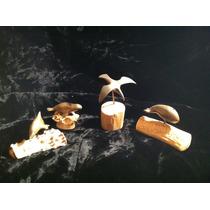 Set De 4 Figuritas Animales En Bronce Y Cuerno