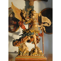 Arcangel San Miguel Talla En Madera Estofada Santo Grande