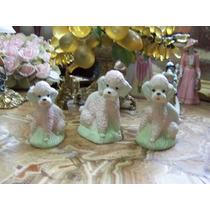 Lindo Familia Perritos French O Caniche De Porcelana Vintage