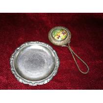 Espejo Y Charola Miniatura Baño De Plata