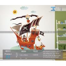 Vinilo Decorativo Infantil Piratas-i 01, Barco Pirata.