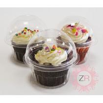 100 Vasos Con Domo Estándar Cupcake Caja Individual
