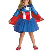 Disfraz De Lujo Capitan America Para Niña Superheroes