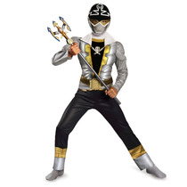 Disfraz Niño Musculoso Power Ranger Silver Super Mega Force