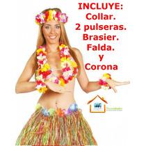 Traje Hawaiano,falda Brasier Hawaiana,corona,collar,pulsera.