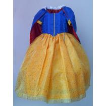 Vestido Disfraz Lujo Princesa Blanca Nieves Capa Incluida