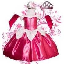 Vestido Princesa Disfraz Aurora-bella Durmiente Tela De Lujo