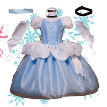 Vestido Princesa Disfraz Cenicienta Tela De Lujo