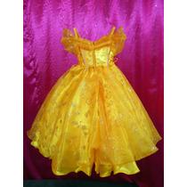 Espectacular Vestido Disfraz De Lujo Princesa Bella Tiara