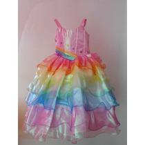 Espectacular Vestido Disfraz Barbie Arco Iris Tiara