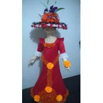 Disfraz Traje Catrina De Lujo Halloween Con Sombrero