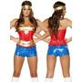 Disfraz De Mujer Maravilla, Super Heroe Para Damas