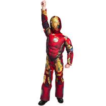 Disfraz Musculoso De Iron Man Con Luz Pecho Para Niño 8 Años