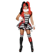 Disfraz Mujer Arlequin Halloween Adulto Harley Quinn De Lujo