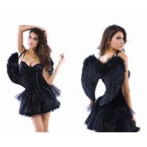 Sexy Disfraz Dark Angel Negro Con Alas, Disney, Halloween