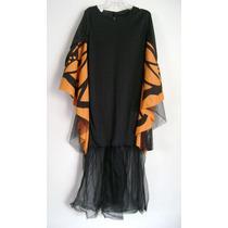 Disfraz Halloween Vestido De Bruja Negro Con Telarañas T 7-8