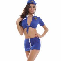 Disfraz Sexy Para Dama De Policia Top Falda Y Gorra Lycra