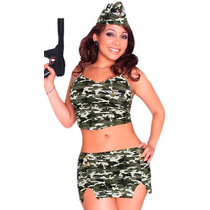 Baby Doll Disfraz Soldado Para Dama Top Falda Tanga Sexy